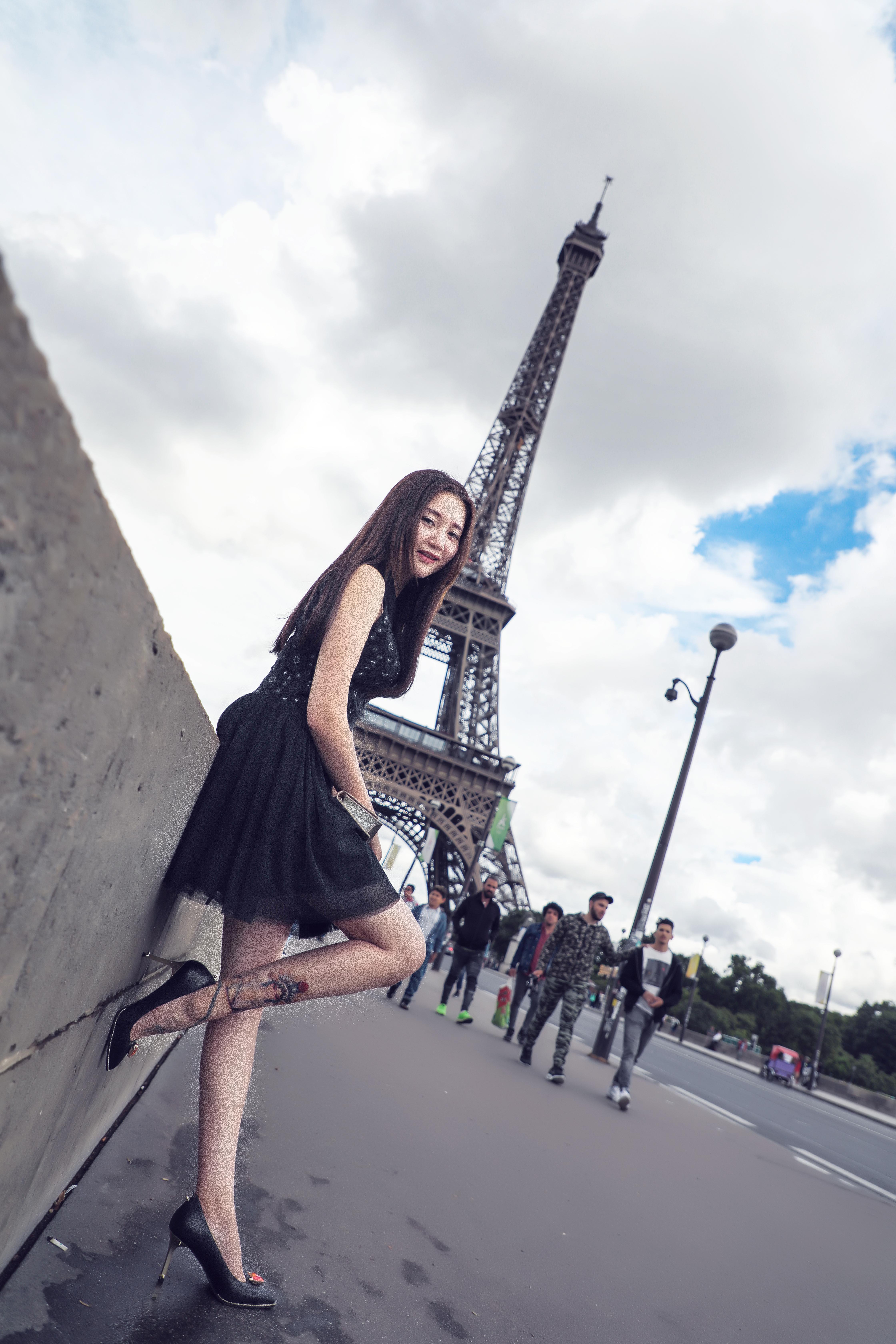 Eiffel Tower under the street shot