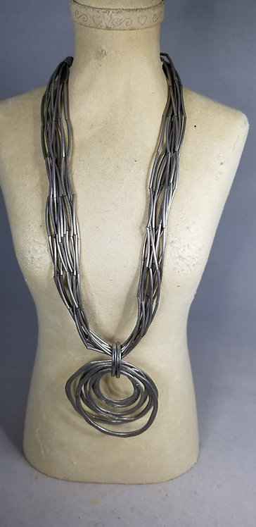 Grey Metal Tube  Necklace