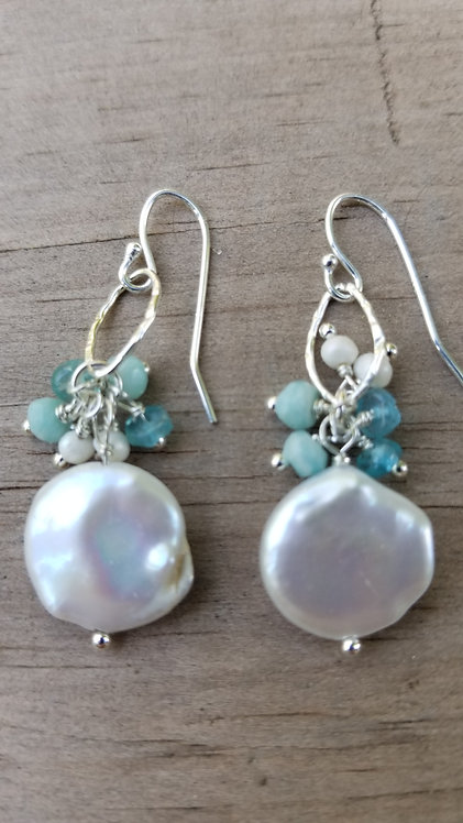 Mother Of Pearl Disc Silver Earring