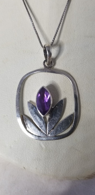 Sterling Silver and Amythyst Lotus Necklace