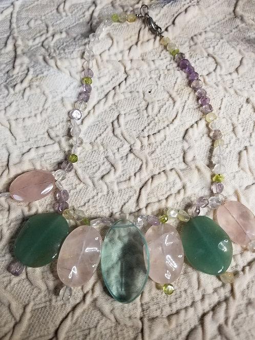 Handmade Jade and Rose Quartz Leaf Necklace