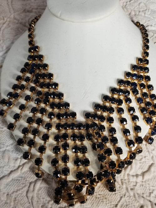 Black Crystal With Golden Metal V-Shaped Necklace