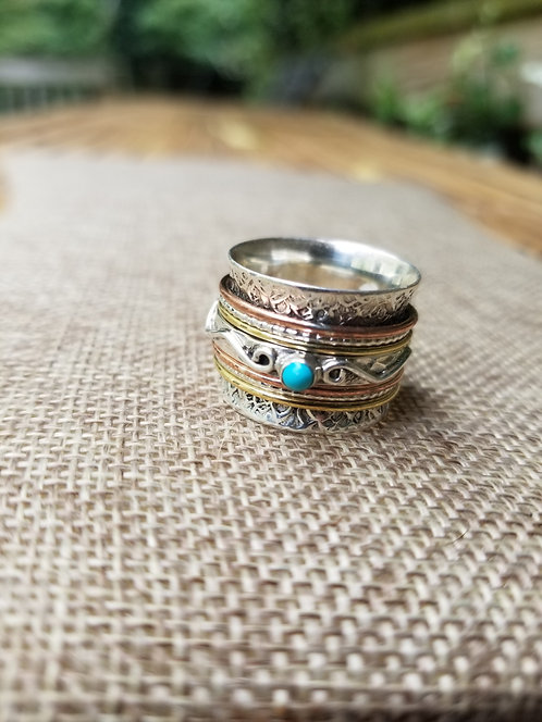 Silver, Brass and Copper Spin Ring