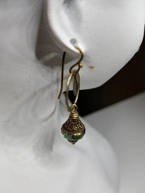 Rustic Dark Green Crystal on Dark Bronze Earring