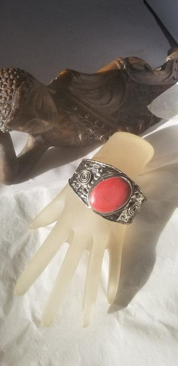 Coral Agate Cuff Bracelet