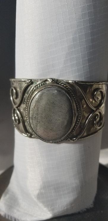 Grey Agate Silver Plate Cuff