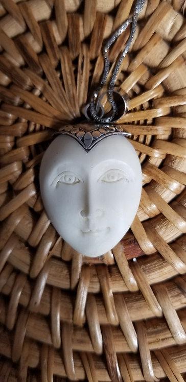Goddess Face Bone Pendant