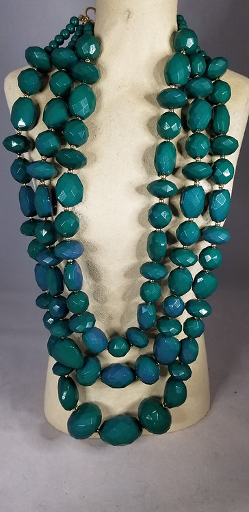 Graduated Three Strand Polymer Teal Necklace