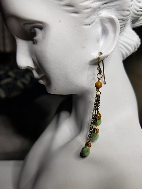Turquoise Beads Flecked With Gold Earrings