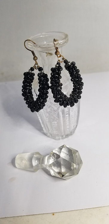 Simple Pair of Black Beaded Earrings