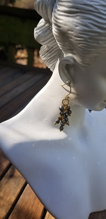 Faceted Grey Crystals, Gold Wire Earrings