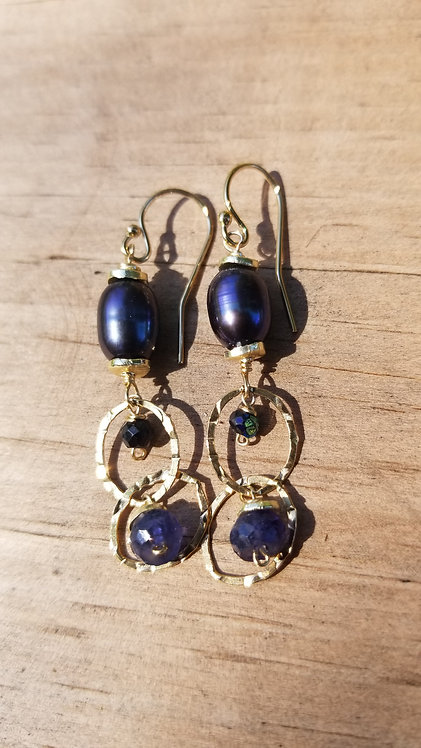 Grey Pearl and Swarovski crystal Gold Fill Earrings