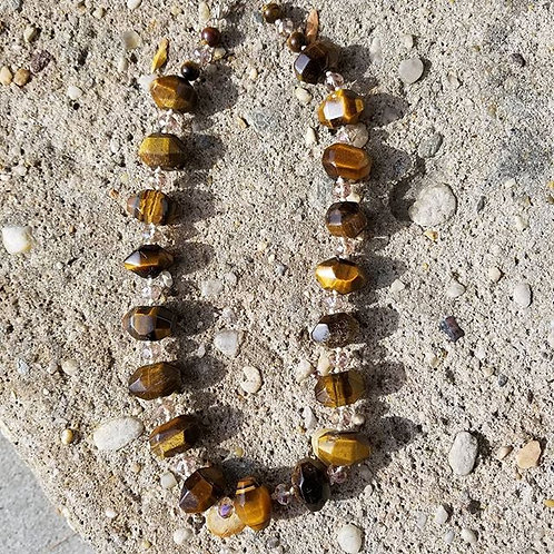 Big Nuggets of Faceted Tigers Eye Necklace