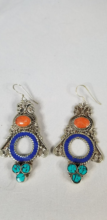 Lapis Circle With Silver Wire Earring