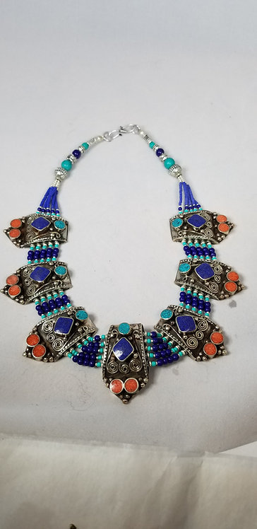 Ornate Lapis Coral and Turquoise with Embellished Plates Necklace