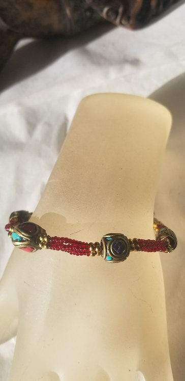 Coral , Turquoise and Red Bead Bracelet