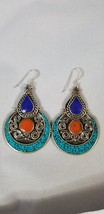 Turquoise, Lapis Coral Earring