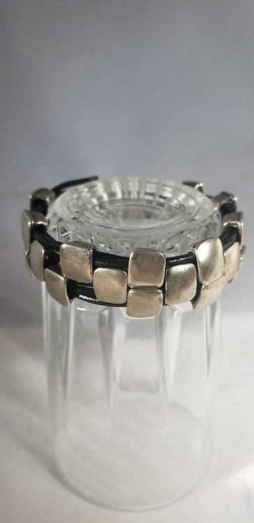 Aluminum  and Leather Men's Bracelet