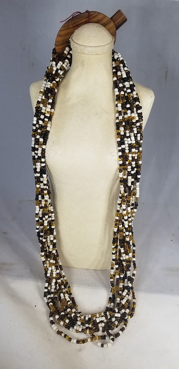 Extra Long Brown Black and White Beaded Necklace