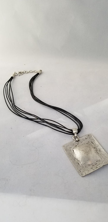 Rustic Square Hammered Pewter Pendant on Leather