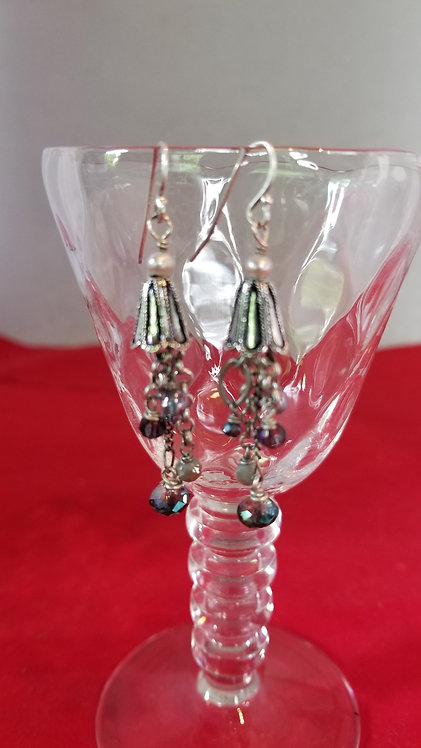 Silver and Crystal Drop Earring