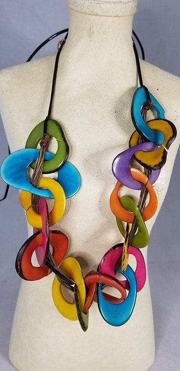 Handmade Rainbow Color Block  Tagua Necklace