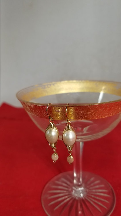 Gold Fill Oval Pearl Earrings