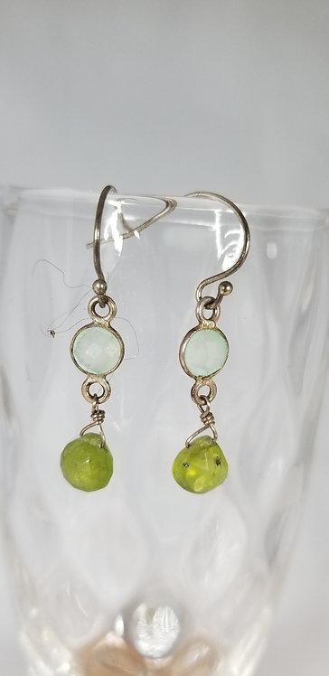 Crystal and Peridot Earrrings