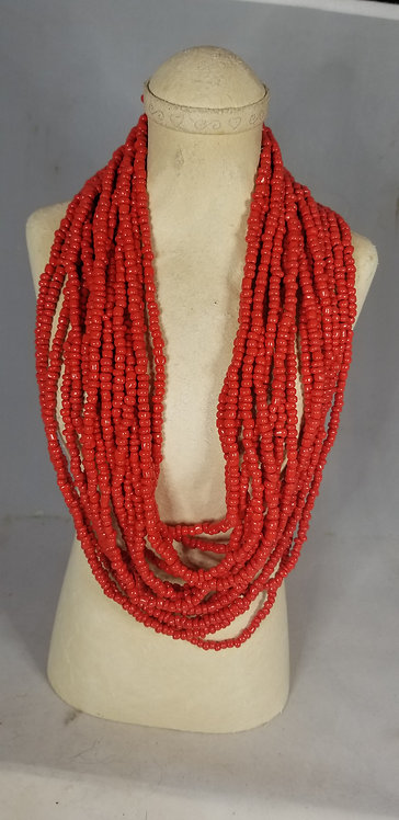 Brilliant Red Beaded Necklace