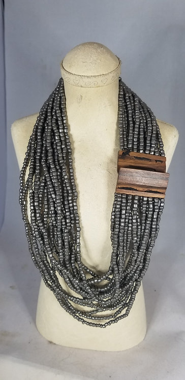 Grey Beaded Stretch Necklace with Wooded Clasp