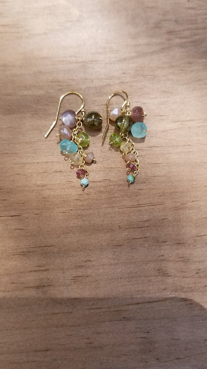 Peridot, Topaz and Coral Beads on Gold Earring