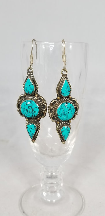 Handmade Turquoise and Silver Drop Earring