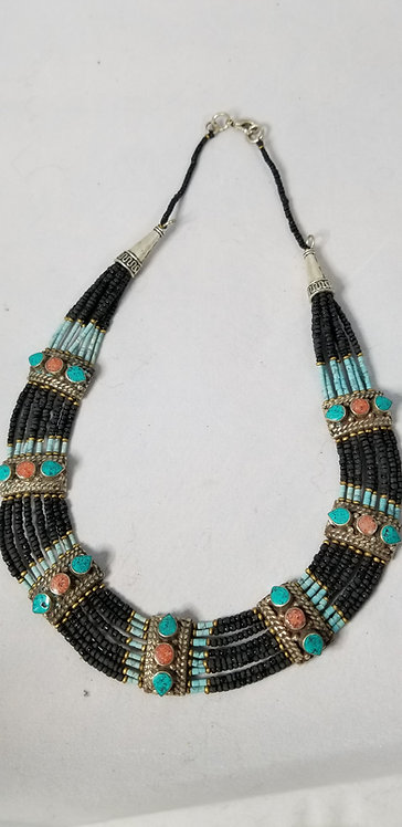 Eight Strand Black Beads with Turquoise and Coral Necklace