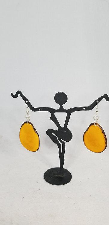 Yellow Tagua Drop Earring