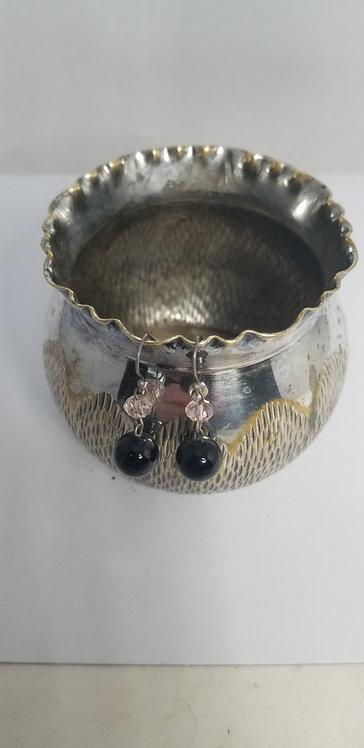 Black Globe Bead With Pink Earring