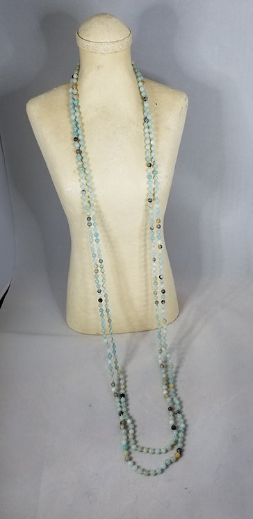 Very Long Aqua  Necklace