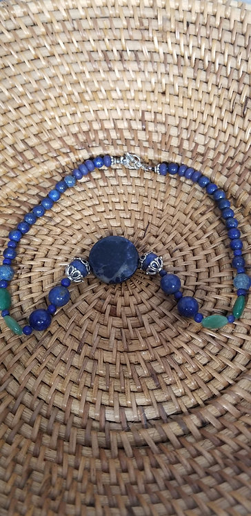 Unique Hamdmade Lapis, Sodalite and Sepentine Necklace,