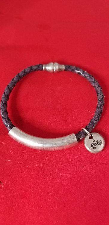 Dark Grey Woven Leather Men's Bracelet