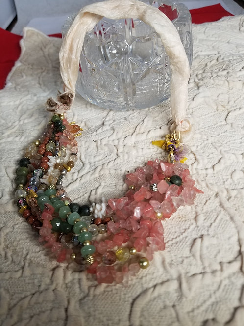 Turkish Ribbon Necklace with Gemstones