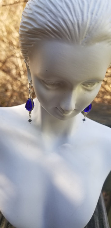 Faceted Dark Blue Crystal Stone and Sterling Earring
