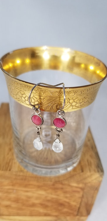 Ruby and Quartz Crysytal Drop Earring