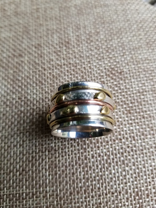 Sterling  Brass and Copper Spin Ring