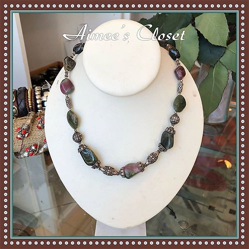Antique Indian Tourmaline Nugget Necklace With Sterling Beads