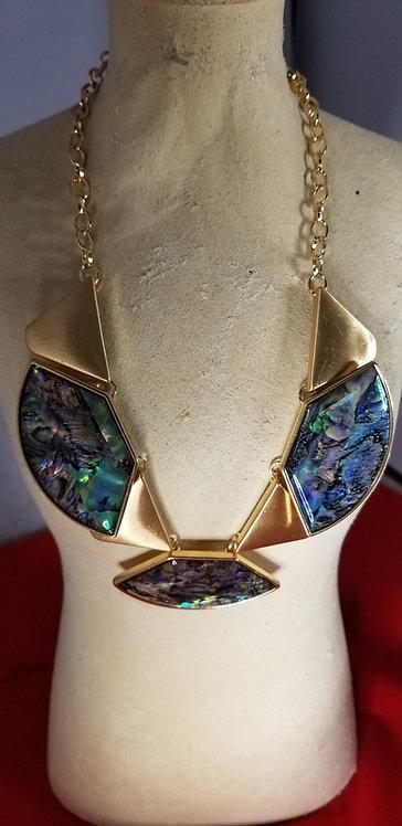 Modern Designer Shell And Polished Brass Necklace