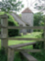 Clapham Church from the East seen over stile