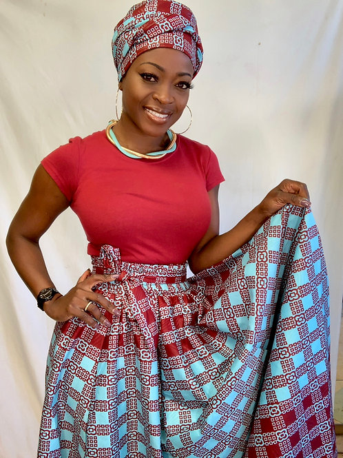 African skirt with accessories and shirt