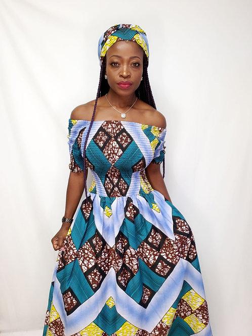 Off shoulder African dress