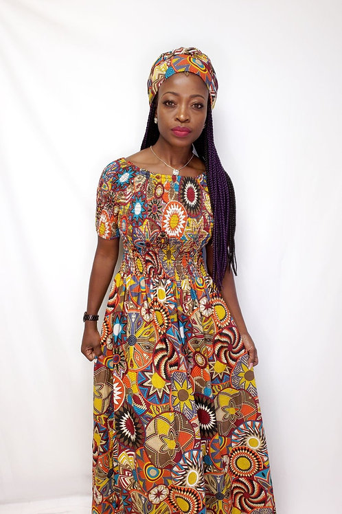 Off shoulder African dress