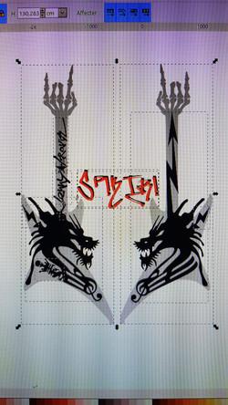 Dessin vectoriel guitare Lenny Kravi