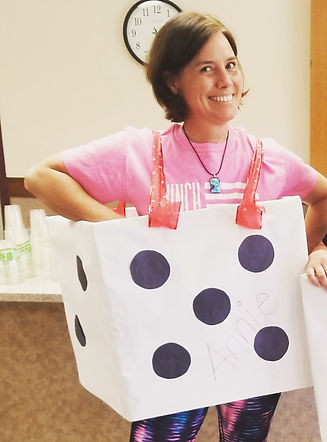 Annie Christoffersen Longmont Meals on Wheels woman in dice costume